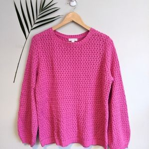 14th & Union Crochet Sweater Pink Size S